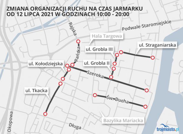 Ulice wyłączone z ruchu na czas jarmarku.