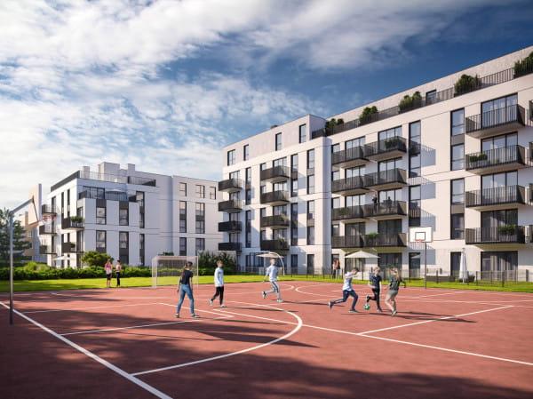 Rytm w dzielnicy Matarnia to dwa budynki, które powstaną tuż obok szkoły i jej boiska.