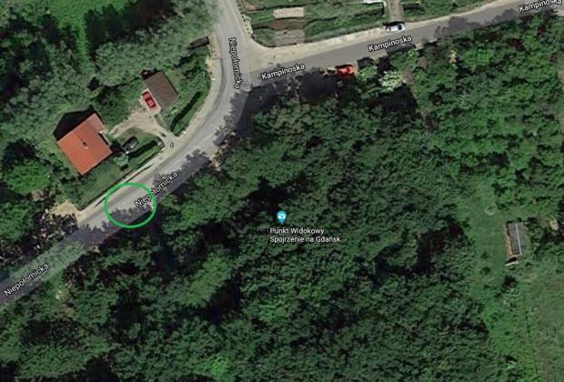 Zielonym kółkiem oznaczono miejsce, w którym powstanie nowe przejście.