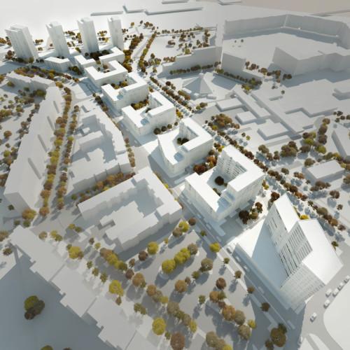 Zwycięska koncepcja architektoniczno-urbanistyczna pracowni Kwadrat (z Gdyni) we współpracy z Wolski Architekci (Sopot).