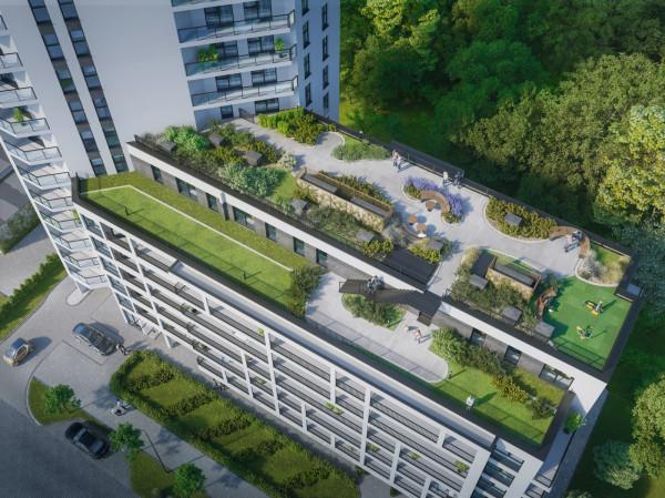 Ogród z częścią wypoczynkową na niższej części kompleksu będzie miał dwa poziomy. To dodatkową ilość zieleni, która pojawi sie wśród zabudowy Letnicy. Przestrzeń ta jest właśnie tworzona.