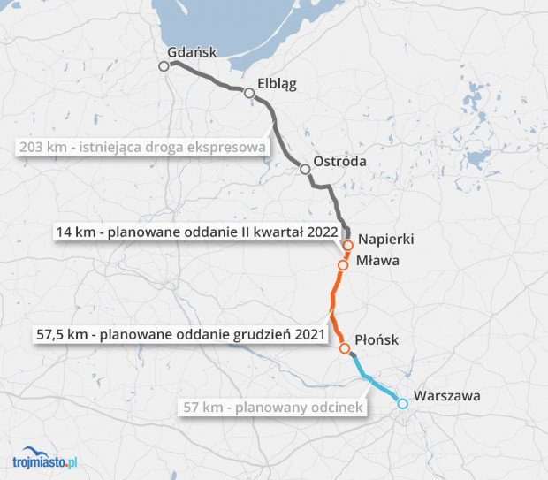 Obecnie kierowcy mają do dyspozycji 203 km ekspresówki z Koszwał do Napierek. Do końca roku ta trasa wydłuży się do 257 km.