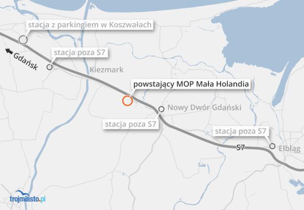 Nowy MOP Mała Holandia powstaje przed Nowym Dworem Gdańskim w kierunku Warszawy.