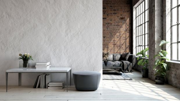 Cegła i beton to nieodzowne elementy stylu loftowego. Symbolem są także fabryczne okna regularnie podzielone szprosami na mniejsze części. Jeśli takich okien w lokalu nie ma, często we wnętrzu wykorzystywane są takie elementy jako drzwi przesuwne lub ścianki działowe.