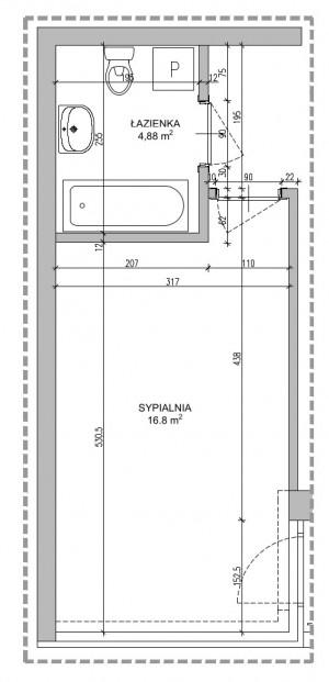 Rzut i wymiary projektowanych pomieszczeń.