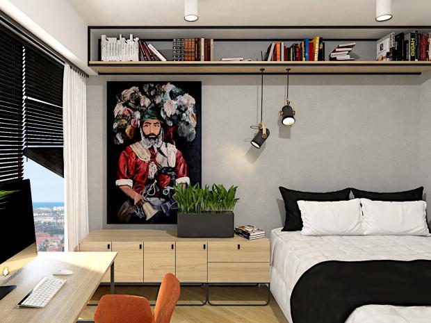 Koncepcja pierwsza. Prosty, industrialny styl to aranżacja w męskim stylu, która wyczerpuje potrzeby naszego czytelnika, który urządza pierwsze własne mieszkanie.