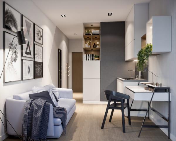 Mieszkanie kompaktowe to takie, w którym na niewielkiej przestrzeni mieści się cały program niezbędny do wygodnego życia jego mieszkańców.