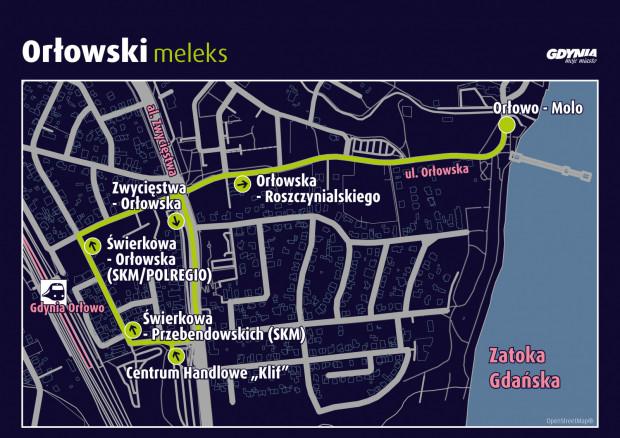 Trasa bezpłatnych meleksów w Orłowie.