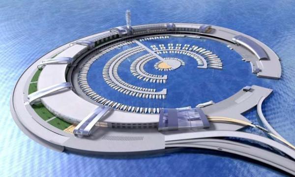Podwójne molo w kształcie okrąglej wyspy - nigdy niezrealizowany plan w Sopocie.