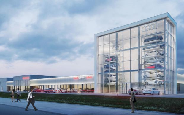 Wizualizacja powstającego przy stadionie salonu Audi.