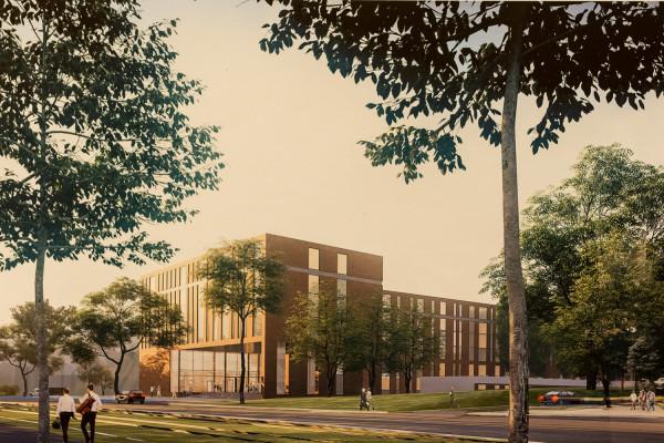 Koncepcja budynku Prokuratury Regionalnej przy ul. 3 Maja autorstwa Studia Architektonicznego Kwadrat.
