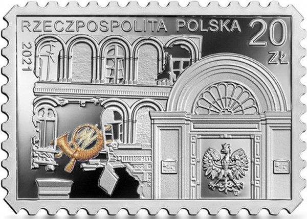 Awers monety, upamiętniającej bohaterską obronę Poczty Polskiej w Wolnym Mieście Gdańsku 1 września 1939 r.
