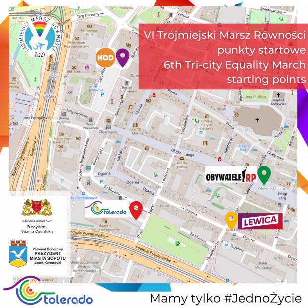 Cztery miejsca rozpoczęcia sobotniego Marszu Równości.