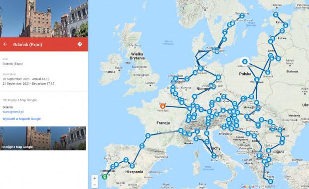 """Tak wygląda trasa pociągu """"Łącząc Europę""""."""