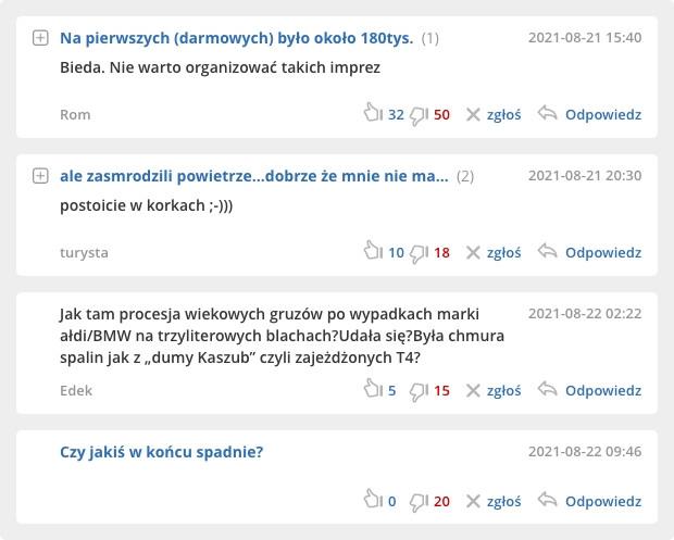 Przykłady idiotycznych, niemerytorycznych i chamskich opinii pod relacją z pokazów Lotos Gdynia Aeroabaltic Airshow.