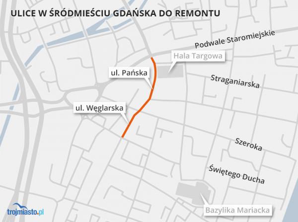 Ulice Pańska i Węglarskie na mapie Gdańska.