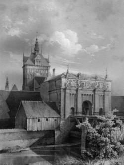Brama Wyżynna w 1855, przed przebudową otoczenia, które istniało w tej formie prawie 300 lat. Obraz Juliusa Gretha.