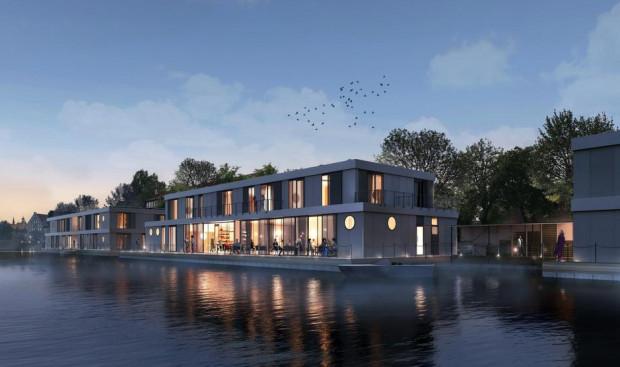 Wizualizacja hotelu Feel Harmony od strony stałego lądu, czyli dzielnicy Długie Ogrody. Oprócz funkcji hotelowej, obiekt będzie także przystanią żeglarską dla niewielkich jednostek.
