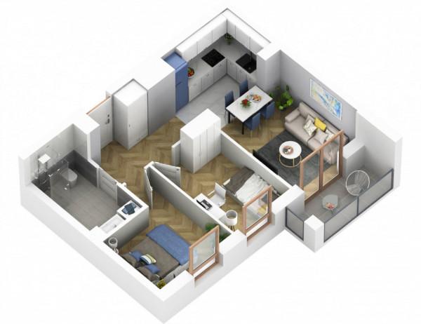 Rzut trzypokojowego mieszkania deweloperskiego o powierzchni 44,5 m kw.