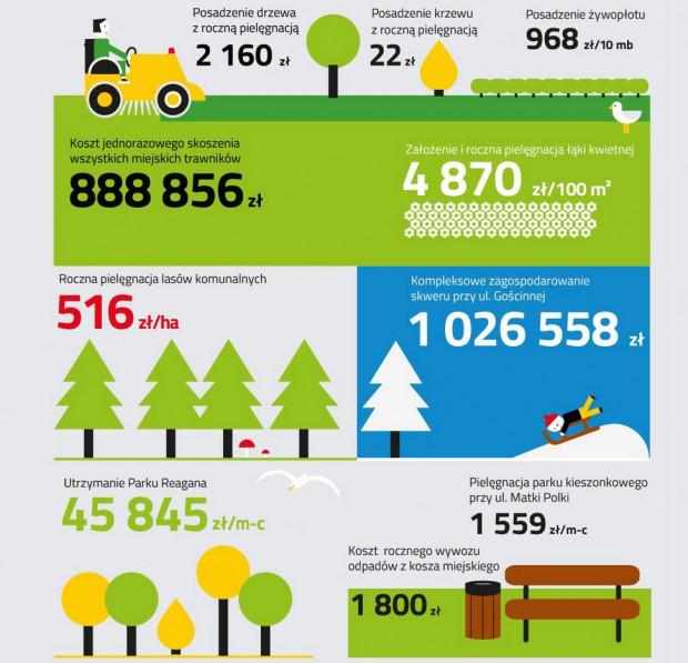 Przykładowe koszty związane z zielenią podane w oficjalnym miejskim cenniku.