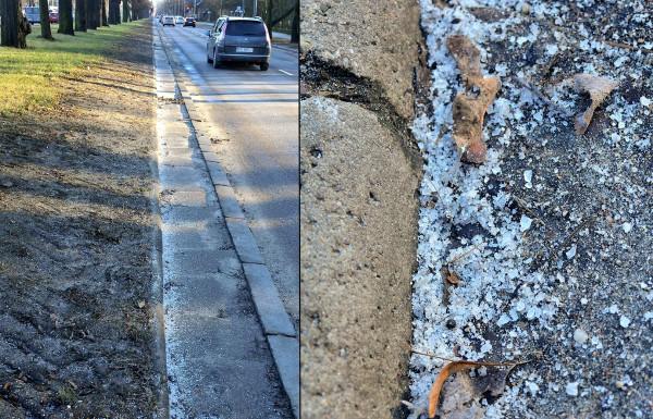 Sól drogowa rozsypana na Wielkiej Alei Lipowej.