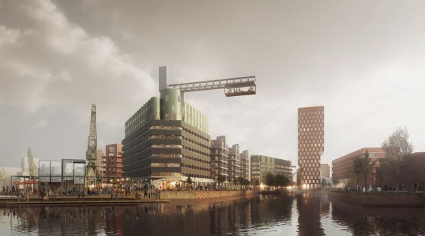 Koncepcja - punkt wyjścia do dalszej dyskusji  dopuszcza realizację pojedynczych budynków o wysokości 55 metrów. Mogłyby one stać się wysokościowymi akcentami rozpoznywalnymi od strony wody.