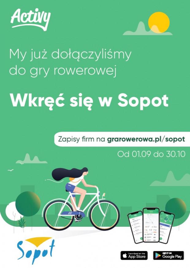 Plakat promujący grę rowerową w Sopocie.