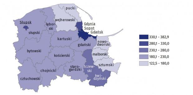 Pracujący (na 1000 mieszkańców, według powiatów).