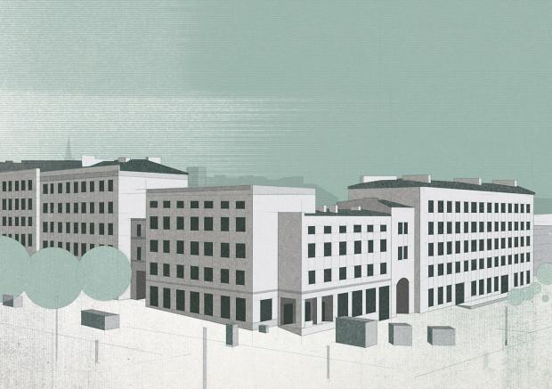 Przykład jednej z grafik, autorstwa Michała Pecko. Przedstawia ona fragment Grunwaldzkiej Dzielnicy Mieszkaniowej.