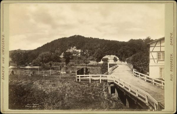 1878 rok. Widok fragmentu młyna, wzgórza pachołek oraz (znacznie wówczas większego) stawu młyńskiego.