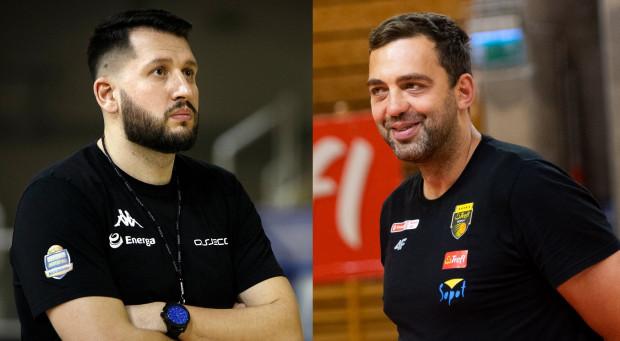 """Po inauguracyjnej kolejce Energa Basket Ligi większe powody do niepokoju są w Asseco Arce Gdynia. Trener Milos Mitrović (z lewej) otarcie przyznaje, że zespół potrzebuje wzmocnień. Z kolei Marcin Stefański (z prawej) uspokaja i zapewnia, że porażkę z Twardymi Piernikami Toruń należy uznać jako """"śliwki robaczywki""""."""