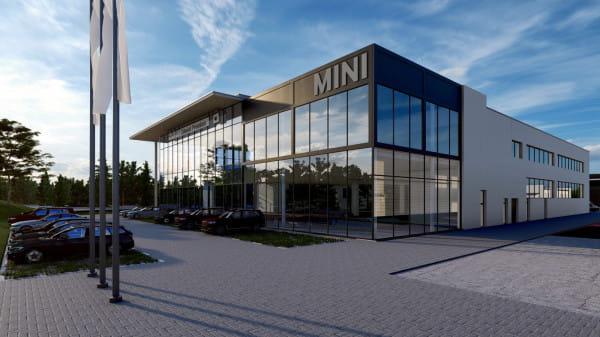 Wizualizacja nowoczesnego obiektu BMW i Mini w Gdańsku.