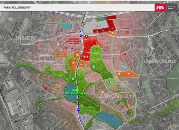 Teren przyszłego Parku Południowego został na mapie zaznaczony kolorem zielonym.