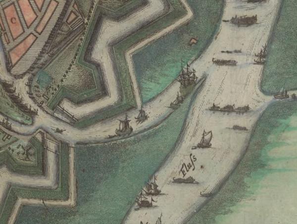 Polski Hak - fragment planu Gdańska z 1687 roku. Źródło: Pomorska Bibliotek Cyfrowa.