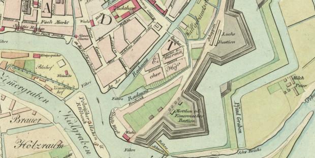 Ogrody na Brabanku widoczne na fragmencie planu Gersdorffa z 1822 roku. Źródło: Polona