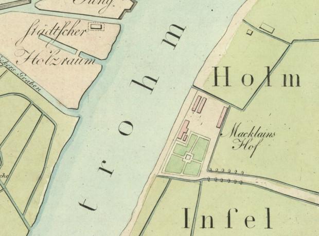 Ostrów i dwór dwór z ogrodem Archibalda Mac Leana - fragment planu Gersdorffa z 1822 roku. Źródło: Polona