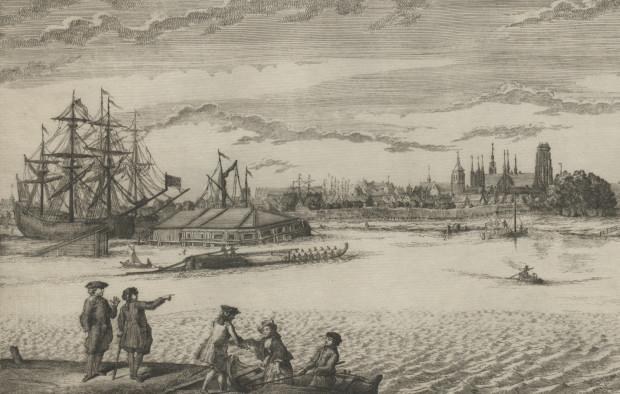 Pośrodku grafiki widać blokhauz na Polskim Haku. Po jego rozbiórce w tym miejscu powstał ogród, który także zlikwidowano, gdy na cyplu wybudowano stocznię.