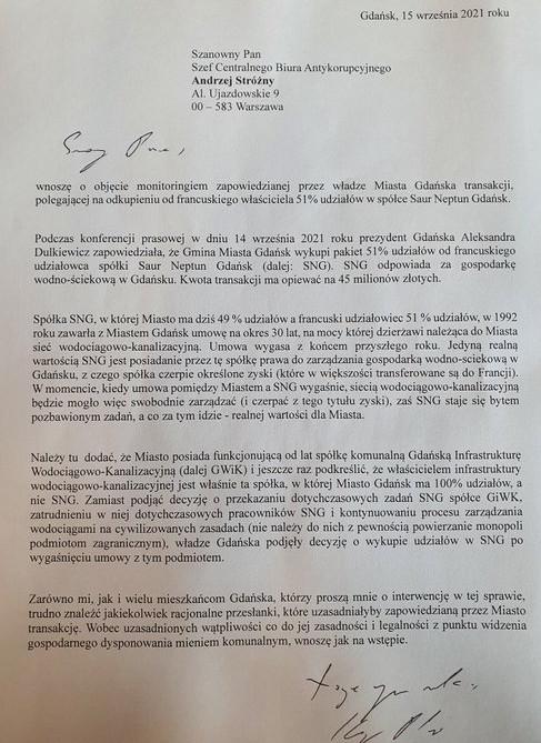 Pismo posła Płażyńskiego do CBA.