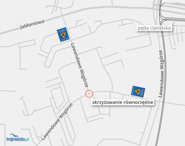 Według dewelopera Robyg (odpowiedzialnego za oznakowanie) na osiedlu Lawendowe Wzgórza jest tylko jedno skrzyżowanie równorzędne - zaznaczono je na mapie.
