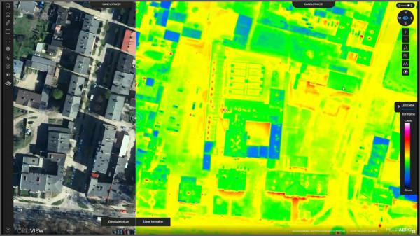 Korzystając z mapy można przełączać się z widoku lotniczego na termowizyjny, co pozwala łatwo zlokalizować budynek, w którym mieszkamy.