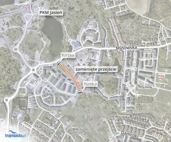 Z przejścia korzystali mieszkańcy osiedli od strony ul. Damroki, ul. Jasieńskiej, ul. Kraśnięta, jak i w drugą stronę od Stawu Wróbla, ul. Bażantowej i wielu innych.
