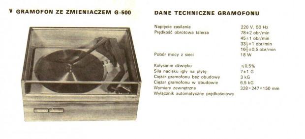 Obiekt pożądania melomanów z początku lat 70. - gramofon G500 S.