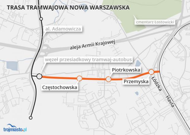 Tak będzie przebiegała trasa Nowej Warszawskiej.
