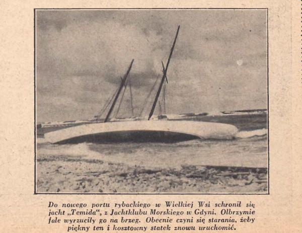 Odnotujemy tylko, że Wielka Wieś, do której jacht Temida przypłynął w poszukiwaniu schronienia przed burzą, to dzisiejsze Władysławowo, które tę nazwę nosi dopiero od 1952 roku.
