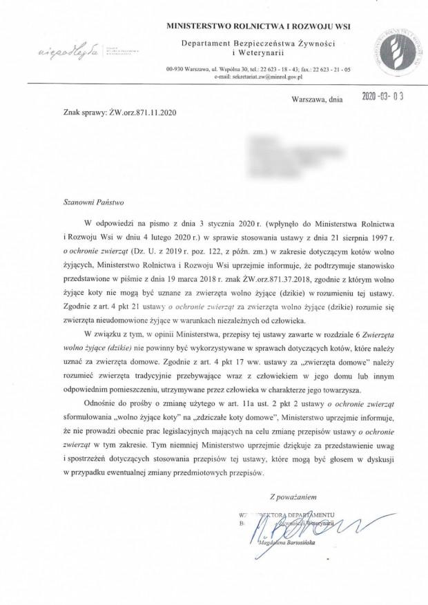 Pismo Ministerstwa Rolnictwa i Rozwoju Wsi z marca 2020 roku.