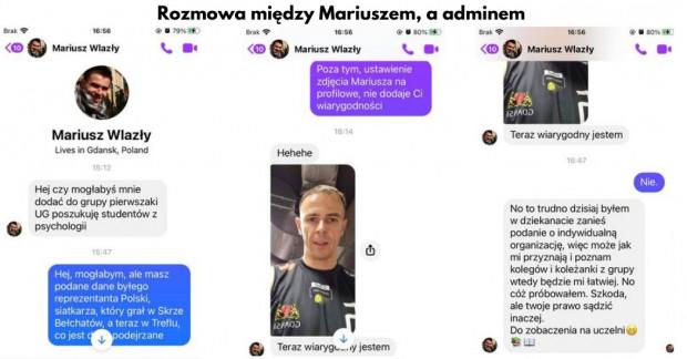 Rozmowa Mariusza Wlazłego z administratorem.