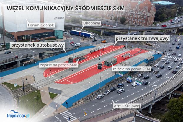 Z węzła przesiadkowego mogą korzystać pasażerowie tramwajów i - w teorii - autobusów. W teorii, bo żaden się tam nie zatrzymuje.