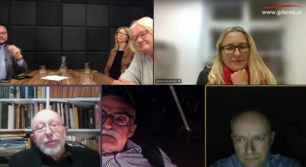 Dyskusja nad uchwałą odbyła się w formie zdalnej. Od lewej u góry: Piotr Lorens, Anna Golędzinowska, Bogna Lipińska, Monika Nkome Evini; od lewej na dole: Tomasz Ossowicz, Aleksander Böhm, Tomasz Przybyło.