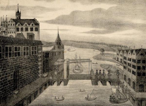 Wyobrażenie zamku krzyżackiego w Gdańsku z mostem zwodzonym na Motławie łączącym zamek z prawobrzeżną Szafarnią. Według Jana Seyfferta (1834 r.).