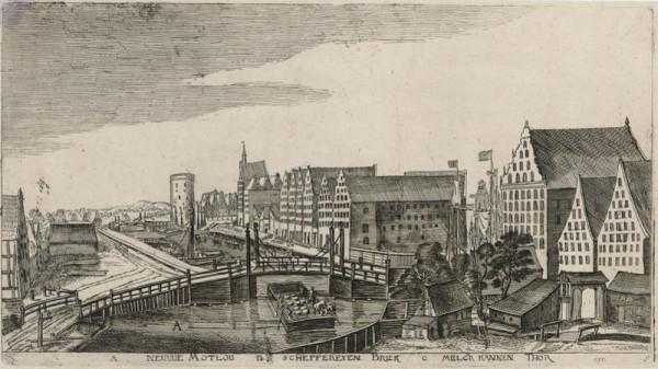 Widok z mostu Kamieniarskiego na Nową Motławę. Po prawej spichlerze na Ołowiance i Wyspie Spichrzów, a po lewej Szafarnia. Karta albumu z widokami Gdańska 1617 Aegidiusa Dickmanna.